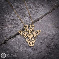 Animal necklace geometric necklace giraffe necklace by ByYaeli