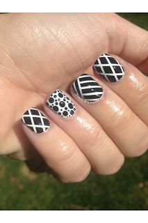 Black and white nails from Young, Wild and Polished blog.