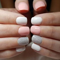 relaxing glitter nail art designs ideas - page 33 - Nails Cute Acrylic Nails, Glitter Nail Art, Cute Shellac Nails, Cnd Shellac, Silver Glitter, Gray Nails, White Nails, Nude Nails, Stylish Nails