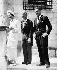 Newlyweds Duke and Duchess of Windsor, the former King Edward VIII and Bessie Wallis Warfield Simpson, are the picture of joy after their wedding, June 3, 1937, in Monts, France. Best man Major Dudley Metcalfe is seen at right.