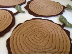 Free Felt Craft Patterns | Free pattern: Felt tree stump coasters | Sewing | CraftGossip.com