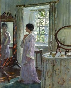 Through a Looking Glass by Sir Alfred Munnings. A painting of his first wife Florence Munnings 'Blote' who took her own life soon after this painting was finished circa 1914