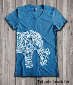 Ethnic Elephant Print  Women's U-Neck T-Shirt by EpisodeGraphics