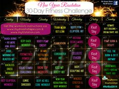 New Year's Resolution Fitness Challenge - January 2014 Workout Calendar