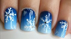 snowflake nails Snowflake Nail Art Tutorial When it C Diy Xmas Nails, Holiday Nail Art, Winter Nail Art, Christmas Nail Art, Halloween Nails, Winter Nails, Diy Nails, Simple Nail Art Designs, Winter Nail Designs