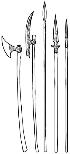 Viking pole weapons, dane axe, Atgeir, spear, winged spear, (trowing) spear.