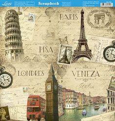 Scrapbook Templates, Scrapbook Paper, Scrapbooking, Pisa, 3d Paper, Paper Crafts, Scrapbook Recipe Book, Decoupage Paper, Art File