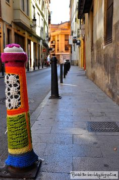 Crochet Street Art - Valencia Bollard art :)