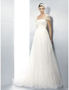 Tulle and Lace Strapless A-Line Wedding Dress with Sheer Lace Sleeves