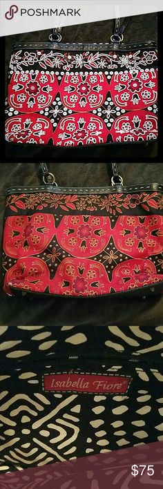 Gorgeous Isabelle Fiore bag Sequined and beaded Isabella Fiore purse. Leather trim, handles and bottom. All perfect condition. Bag measures 14x10 with 9.5 inch strap drop Isabella Fiore Bags Shoulder Bags