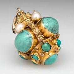 Vintage Turquoise & Cultured Pearl Crown Bracelet Charm Pendant Solid 18K Gold