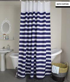 Modern White Navy and Gray Stripe Bathroom Fabric Bath Shower