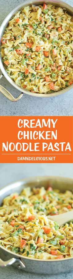 Creamy Chicken Noodle Pasta - This is like everyone's favorite chicken noodle soup except in creamy, melt-in-your-mouth pasta form! It's seriously AMAZING.