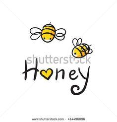 honey and Bee icon. honey vector. bee illustration. Honey Bee Tattoo, Bumble Bee Tattoo, Honey Bee Drawing, Bee Icon, Honey Logo, Honey Label, Creation Art, Cute Bee, Bee Crafts