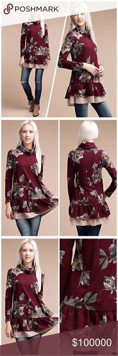 Breathtaking floral sweater tunic💕2 sold already! This cozy sweater tunic  features turtle neckline, long sleeves, all over floral print , ruffled layer bottom and relaxed fit. In deep burgundy with dusty rose ruffle! Sweaters