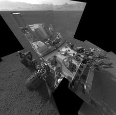 Curiosity on Mars: Still Life with Rover - NASA engineers digitally synthesized multiple navigation camera images taken last week into what appears to be the view of a single camera.