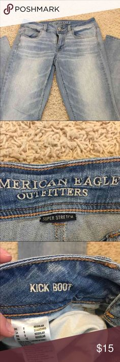AE kick boot 8 regular American eagle. Light wash. Kick boot. Super stretch. American Eagle Outfitters Jeans Boot Cut