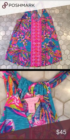 EUC Summer Haze Minka Small EUC, don't think I ever wore it, sea blue summer haze minka top. Size small Lilly Pulitzer Tops