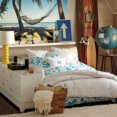 Really appreciate this style for a teen... Hawaiian prints, woven basket, surfboards, deep blues and crisp whites