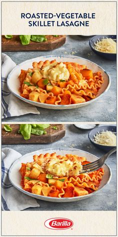 Stack butternut squash, parsnips, cauliflower and our Roasted Garlic Sauce for a comforting lasagne, made easily in your favorite skillet pan. Save this recipe for a pasta bake the whole family will devour. Skillet Pan, Skillet Lasagna, Skillet Meals, Vegetable Recipes, Vegetarian Recipes, Cooking Recipes, Healthy Recipes, Pasta Recipes, Dinner Recipes