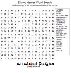 Disney Heroes Word Search