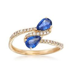 .90 ct. t.w. Sapphire and .17 ct. t.w. Diamond Two-Stone Ring in 14kt Yellow Gold