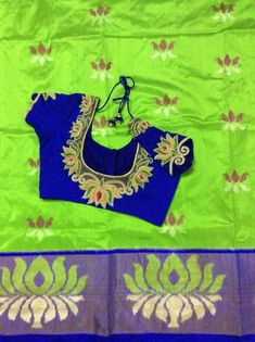 15 Chic Contrasting Blouse Colours To Wear With Green Sarees Blouse Back Neck Designs, Best Blouse Designs, Hand Work Blouse Design, Bridal Blouse Designs, Saree Design Patterns, Designer Blouse Patterns, Embroidery Neck Designs, Embroidery Blouses, Traditional Blouse Designs
