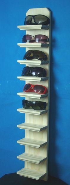 "35"" Tall Unfinished 10 shelf Wall Mount Sunglasses Display Shelf Eyeglass Rack Organizer"