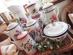 Rose Enameled Pots