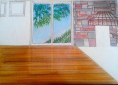 Primeiros passos- Sala de estar; feito a mão, representação de piso de madeira e reflexo de vidro,  utilizando giz pastel e canetas magic color.