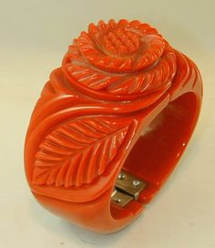 Rose Carved Hinged Bracelet. Hand Crafted by Jorge Caicedo Montes de Oca . New York , NY. Bracelet is made from vintage Bakelite material.