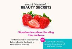 Strawberries are great for sunburn. #beauty #secret #funfact