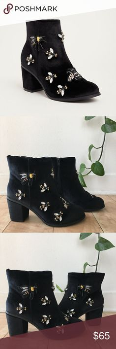 """✨NWOT Torrid Embellished Bumble Bee Heel Booties ✨ The title of Queen Bee is officially bestowed upon you in these booties, your majesty! The heeled pair sports a slick and sumptuous black velvet outer, that's buzzing all over with embellished bumble bee appliques. TRUE WIDE WIDTH: Designed so you never have to size up again.3"""" heelMan-made materials torrid Shoes Ankle Boots & Booties"""