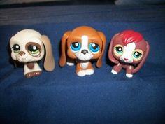 3 Littlest pet shop basset hounds hound dogs LPS dog