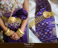 Khmer wedding outfit - Purple and Gold