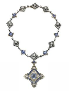 AN ANTIQUE SAPPHIRE AND DIAMOND NECKLACE  The lozenge-shaped pendant/brooch set with lines of cushion-shaped sapphires and old-cut diamonds, centering upon a sapphire cameo depicting a woman in profile, the gold reverse inscribed 'Soul' in Ancient Greek, to the knife-edge chain set with alternated diamond-set lozenge-shaped links and oval-sapphires with diamond collet detail, additional pendant and brooch fittings, mounted in silver and gold, composite, late 19th Century