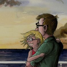 Still from an animated memoir by The Telegraph cartoonist, Bob, of his family's first holiday
