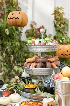Halloween desserts on a galvanized tray.