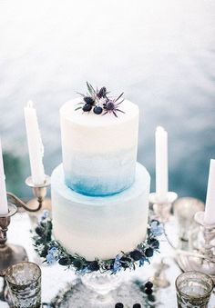 Gorgeous Grey Blue thistles make this cake so beautiful