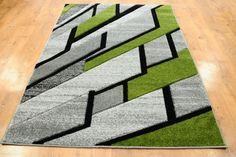 Dywan nowoczesny Ściana szaro-zielona, dywan ręcznie wycinany