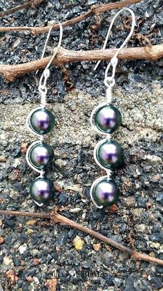 Swarovski iridescent purple pearl earrings-purple pearl earrings-silver and pearl earrings-dangle swarovski pearl earrings-amethyst pearl