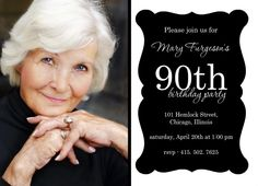 90th Birthday Invitations with a Photo. I like this