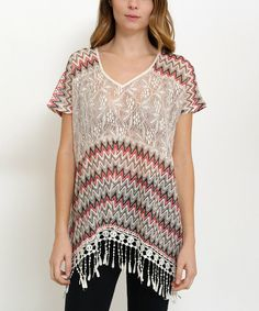 Taupe & Red Chevron Lace-Accent V-Neck Top by funkitribe #zulily #zulilyfinds