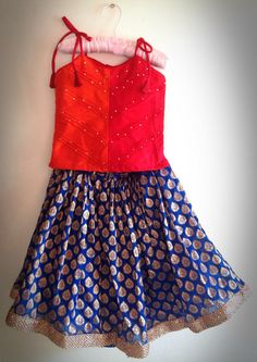 red and blue girls lehenga by Bubblinga on Etsy