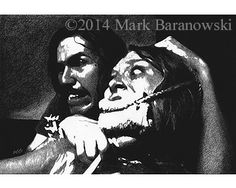 """""""Hitchhiker and Sally"""" -  Drawing by Mark Baranowski/CreateToLive.com  #horror #film #art #charcoal"""