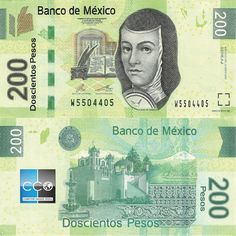 Mexican bank note, mexico 200 pesos Juana de Asbaje at right and as watermark with electrotype Open book. Open book and quill in OVI. Mexican Peso, Real Id, Statement Template, Graffiti Lettering, Open Book, Les Oeuvres, Quilling, History, Banknote