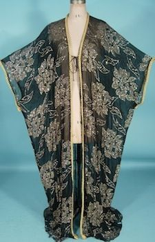 """c. 1984 Black Sheer Chiffon Kimono Robe with Gold Glitter and Gold Rope Trim!  Worn by Fran Drescher in the 1984 Cult Comedy Classic Film """"This is Spinal Tap"""", and worn at the 2012 Red Carpet Premier for her TV Show """"Happily Divorced"""", and worn to officiate the Weddings of 3 Gay Couples for her 2012 """"'Love Is Love' Gay Marriage Contest."""""""