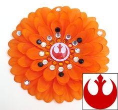 Rebel Alliance Orange Penny Blossom Rhinestone Flower Barrette. $7.50, via Etsy.