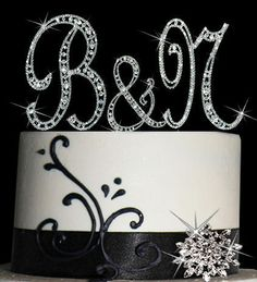 DIAMANTE CRYSTAL MONOGRAM LETTER CAKE TOPPER BLING INITIAL