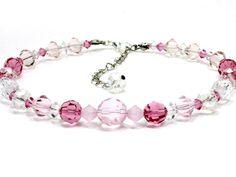 Pink Crystal Dog Collar. Hot Pink Crystal Beads and Light Crystal Beads for Collar for Dogs or Cats. Fancy Wedding Dog Collar with Crystals